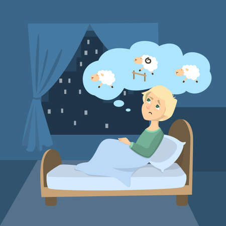 Man with insomnia. Ilustrace