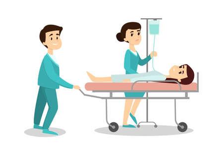 白い背景のストレッチャーに患者と医師は救急車。