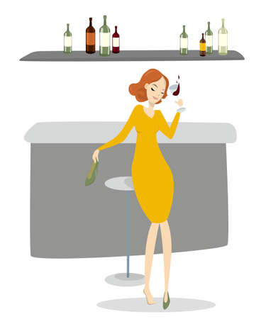 Drunk woman with wine dancing in the bar.