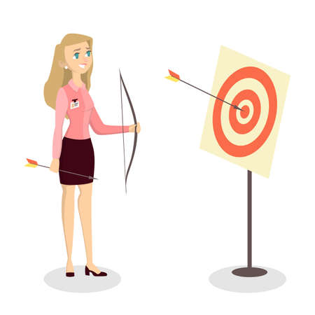 Woman with bow, arrow and target. Businesswoman archer aimed in center.