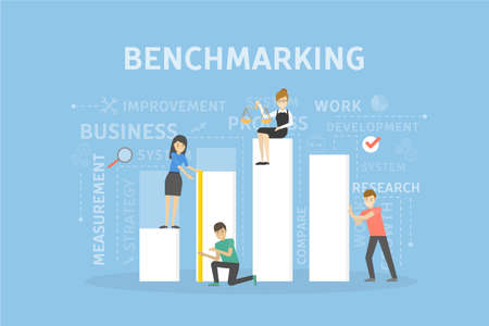 Benchmarking concept illustration. Idea of development, improvement and business. Vettoriali