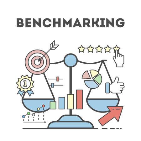 Benchmarking Konzept Abbildung. Vorstellung von Entwicklung, Verbesserung und Geschäft.