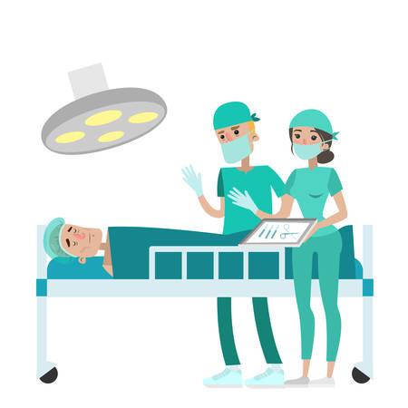 Lekarze robi operację na pacjenta w klinice.