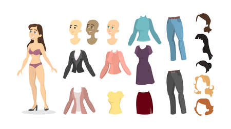 Woman cartoon character set with hair, skin and clothes.