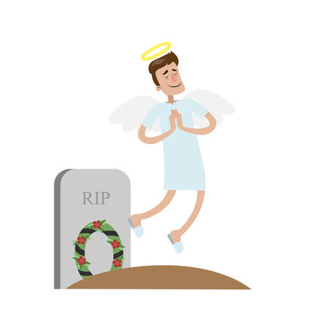 Angel man flying after death above grave  on white background.