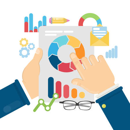 Businessman analyzing data. Information charts, graphics and more