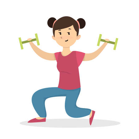 Fitness with dumbbell. Girl doing exercises on white background.