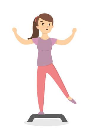 Fitness with stepper. Girl doing exercises on white background. Illustration