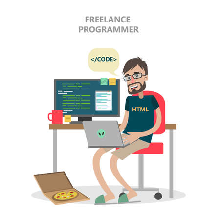 Isolated freelance programmer with computer and laptop. Illustration
