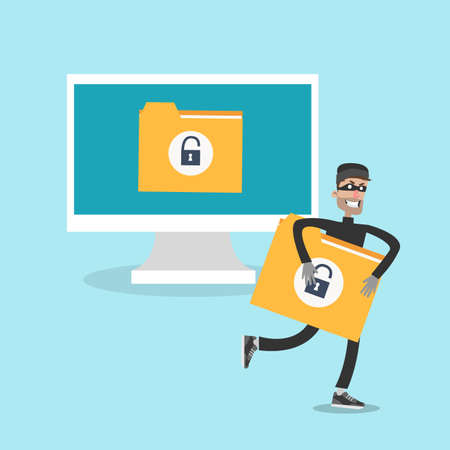 Man grabbing and running with data document Illustration
