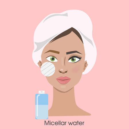 Woman removing make up with sponge and micellar water. Illustration