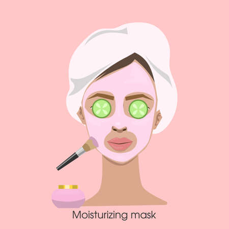 Woman applying moisturizing mask with brush on face. Ilustração