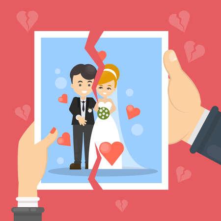 Ilustración del concepto de divorcio. La mujer y el hombre rasgan la foto de matrimonio.