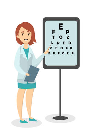 Ophthalmologist with medical test for eyesight vector illustration.