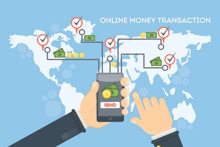 Online money transaction using smartphone vector illustration.