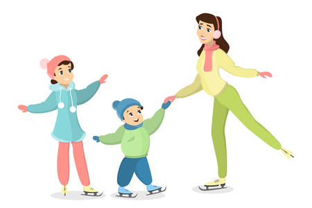 Mother teaches son and daughter how to ice skate vector illustration.