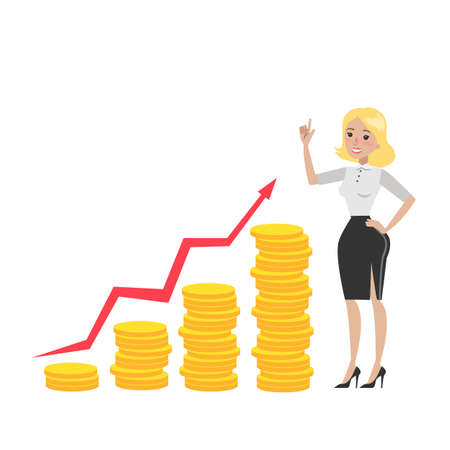 Businesswoman with money growth chart of golden coins and arrow.