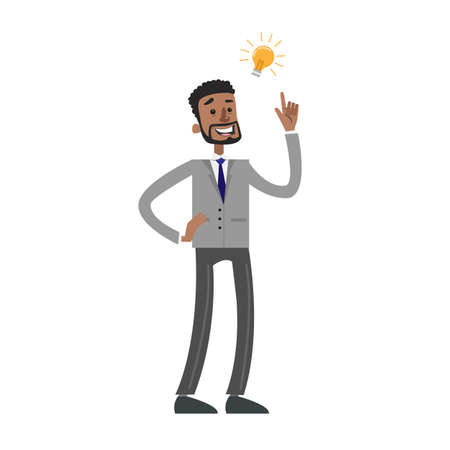 Man with business idea lightbulb on white background.