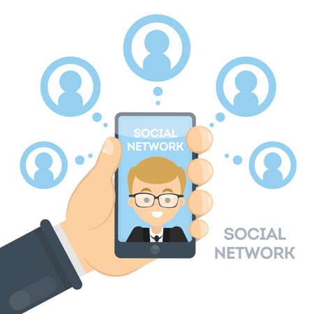 Social networks concept. Hands holding a smartphone.