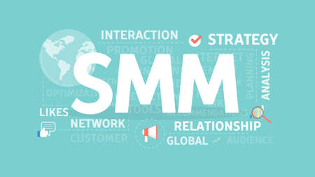 A SMM concept illustration. Idea of interaction, strategy adn network.