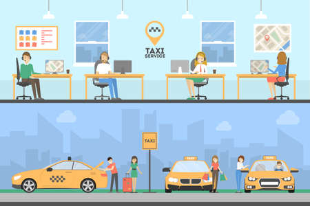 Taxiserviceset Stock Illustratie