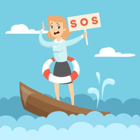 Femme sur le bateau avec le signe SOS Banque d'images - 88058198