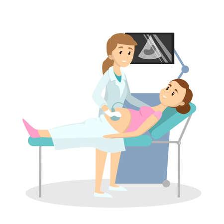 Ärztin, die Ultraschall für schwangere Frau im Bezirk tut. Vektorgrafik