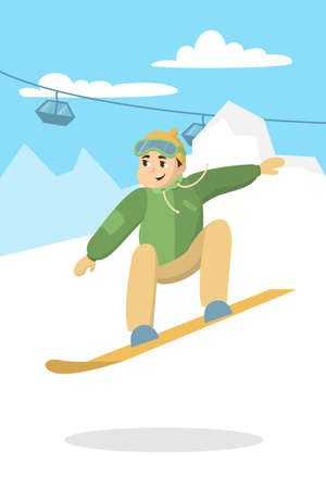 Man riding snowboard. Happy young man doing sport. Illustration