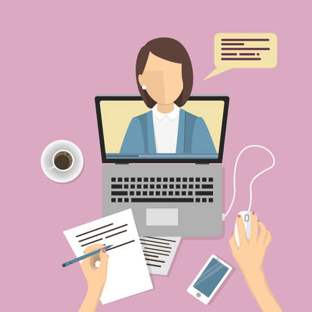 Webinar concept illustration. People studying online with female teacher.