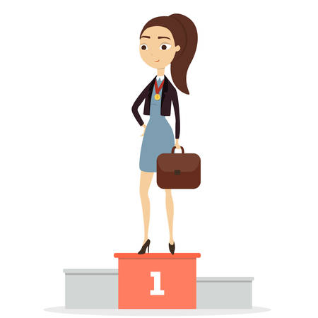 excellence: Isolated winner business woman.