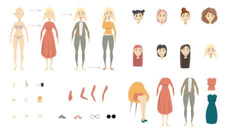 Woman cartoon character set with hair.