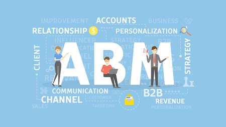 ABM の概念図。アカウント ・ ベースのマーケティング。ビジネス、戦略、財政のアイデア。  イラスト・ベクター素材
