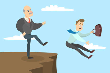 Boss kicks out the employee from the cliff. Иллюстрация