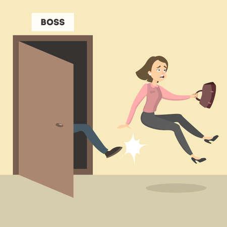Baas trapt de vrouwelijke werknemer uit het kantoor.