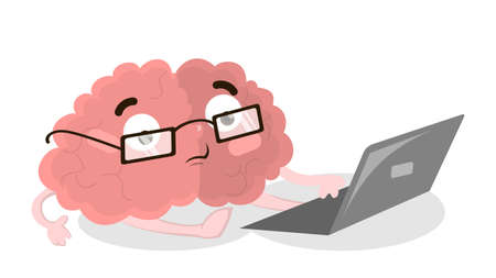Brain with laptop.