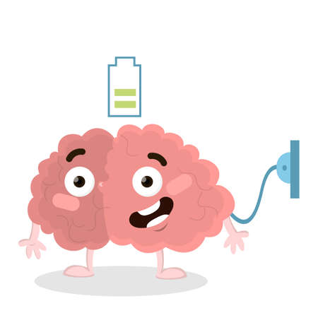 Isolated charging brain with socket and battery on white background.