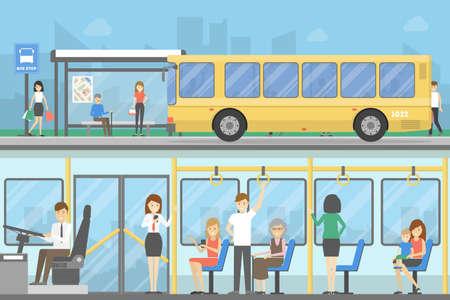 Przystanek autobusowy ustawiony. Osoby czekające na transport publiczny.