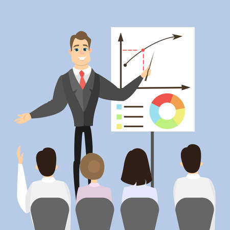 Business coaching man with chart board and audience. Illustration