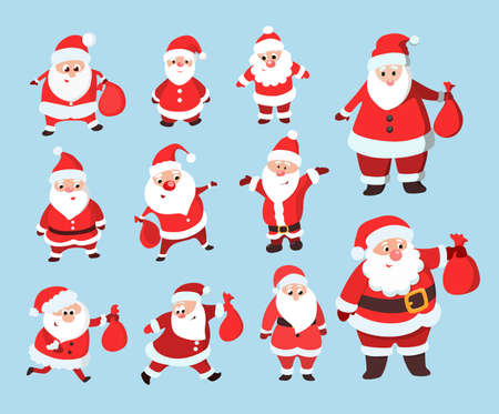 Santa Claus set. Funny cartoon character in different poses. Illustration