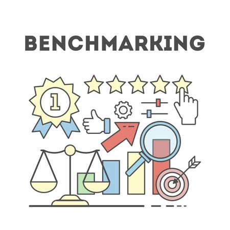 Benchmarking concept illustration. Idea of development, improvement and business. Illustration
