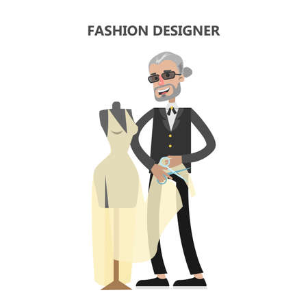 textile industry: Isolated fashion designer with mannequin and clothes. Illustration