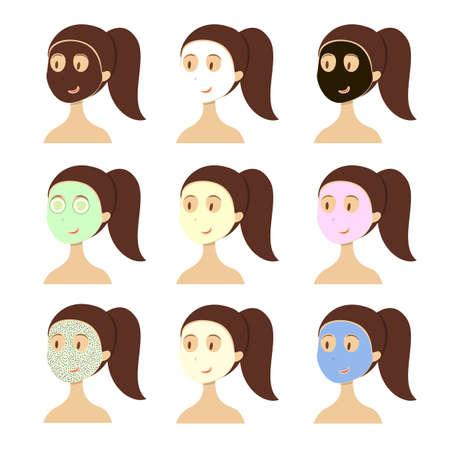 Gezichtsmasker types. Stock Illustratie