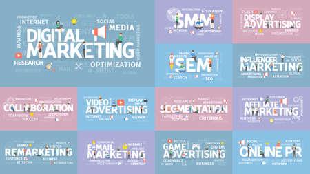 Digital marketing set. Smm and seo, advertising and segmentation and more.