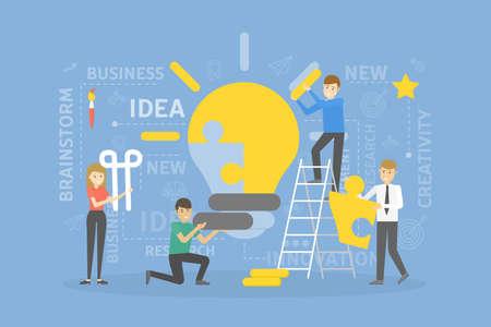 Lightbulb idea puzzle. Team solving the puzzle. Teamwork