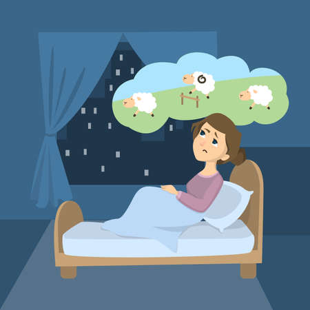 Woman with insomnia. Trying to count sheep in the room.