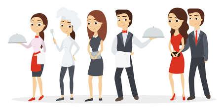 Zestaw pracowników kuchni. Szef kuchni i kelnerka z gospodarzami.