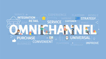 Omnichannel-Konzeptillustration, Serviceidee, Strategie und Integration.