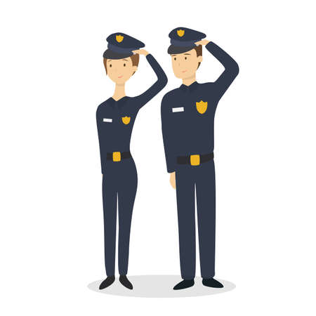 Isolated police couple. Illustration