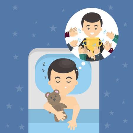 nap: Man dreams of trophy. Illustration