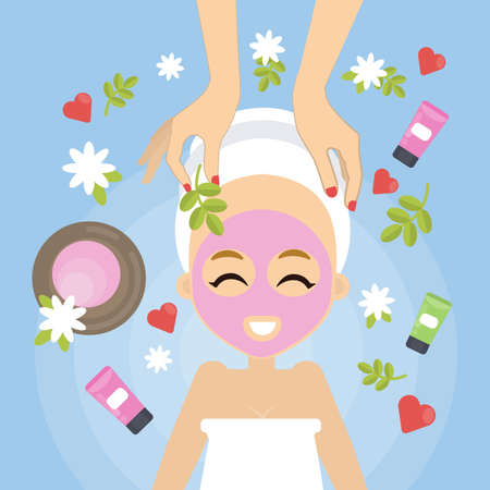 Woman at spa salon with facial mask and flowers.